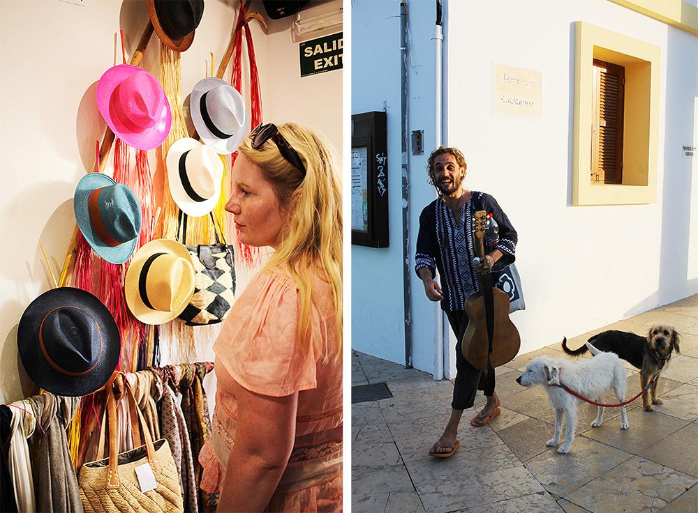 FINT PÅ FORMENTERA: På øya ser du både turister på shopping og glade, avslappede øyfolk. Foto: Tenk Koffert