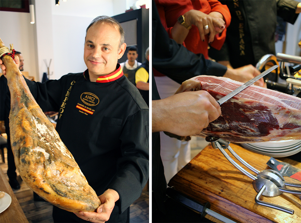 SKINKEKURS: Jeg var på kurs og workshop om ibericoskinke da jeg besøkte Salamanca. Kjempespennende (og skinken smakte nydelig!). Foto: Tenk Koffert
