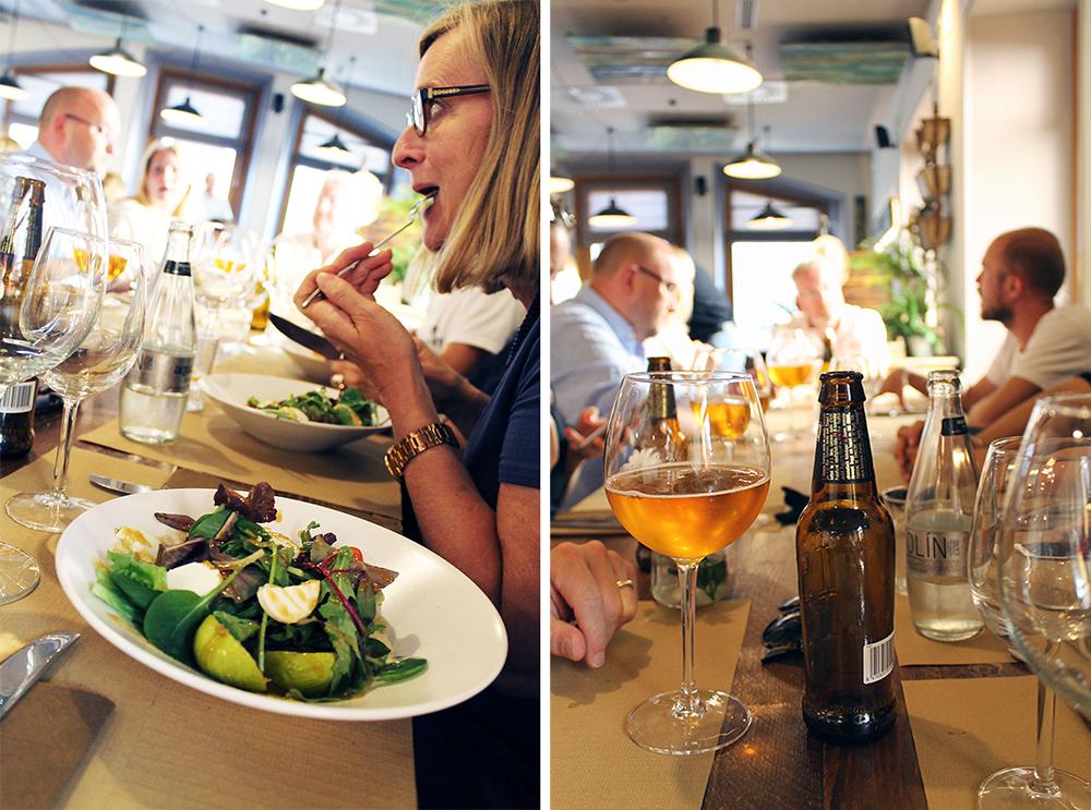 SOUL KITCHEN: Salat til forrett og mye god drikke hos Soul Kitchen. Foto: Tenk Koffert