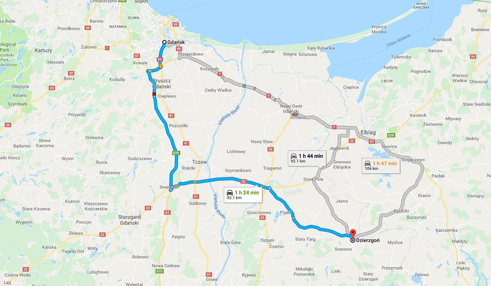 REISERUTA: Slik kommer du deg fra Gdansk til Dzierzgon. Foto: Google maps