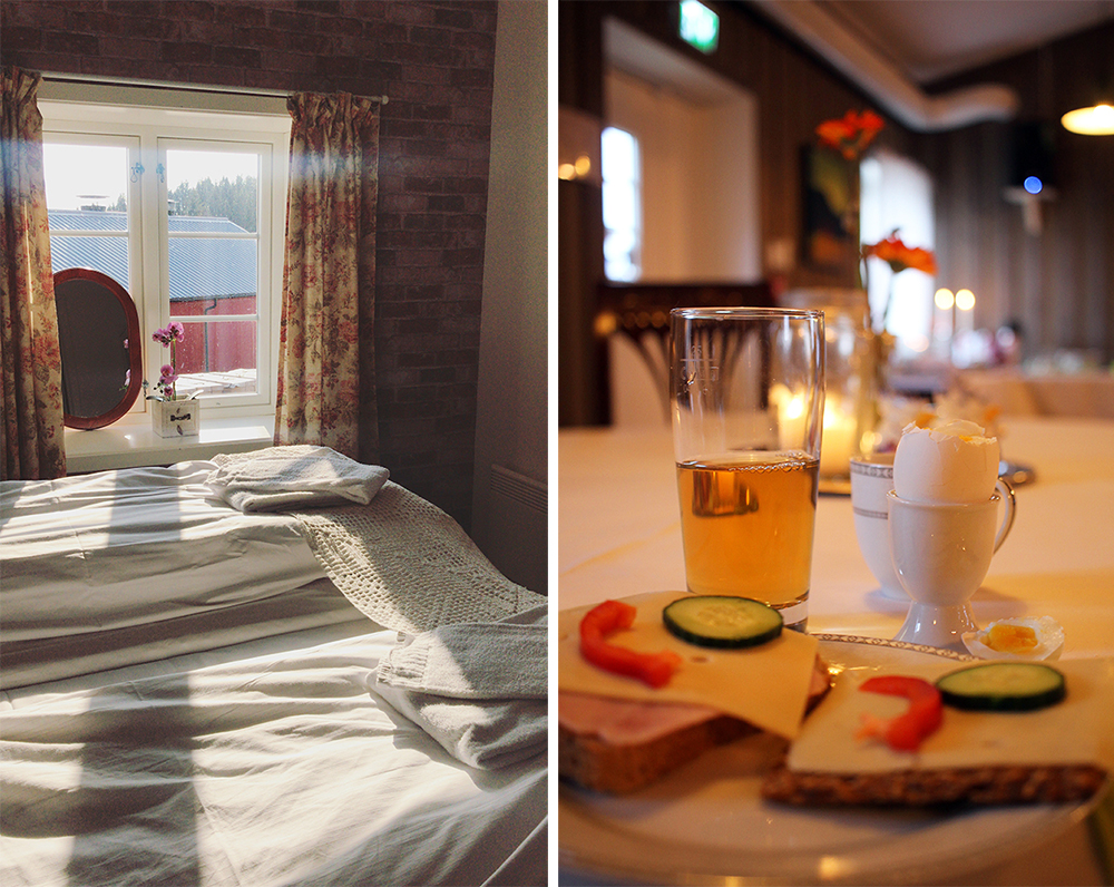 DOBBELTROM: Jeg overnattet i et fint, lite dobbeltrom med bad på gangen. God, hjemmelaget frokost er inkludert i prisen når du overnatter på Munkeby. Prøv Sissels hjemmebakte knekkebrød - de er SÅ gode! Foto: Tenk KoffertFoto: Tenk Koffert