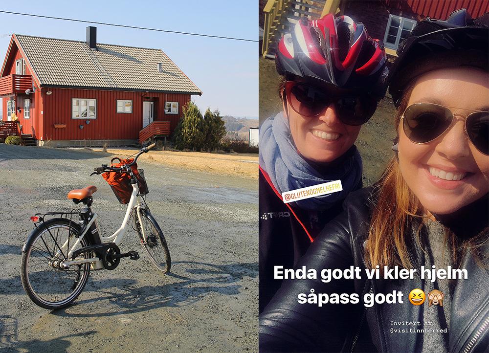 PÅ REPORTASJETUR: Kathrine og jeg gjorde masse gøy, da jeg var i Innherred. Blant annet syklet vi ned til Levanger på elsykkel. Foto: Tenk Koffert