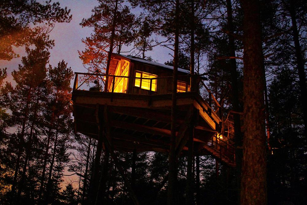 TRETOPPHYTTE I ØSTFOLD: Gjør bardomsdrømmen virkelig — overnatt i toppen av et tre. Foto: Tenk Koffert