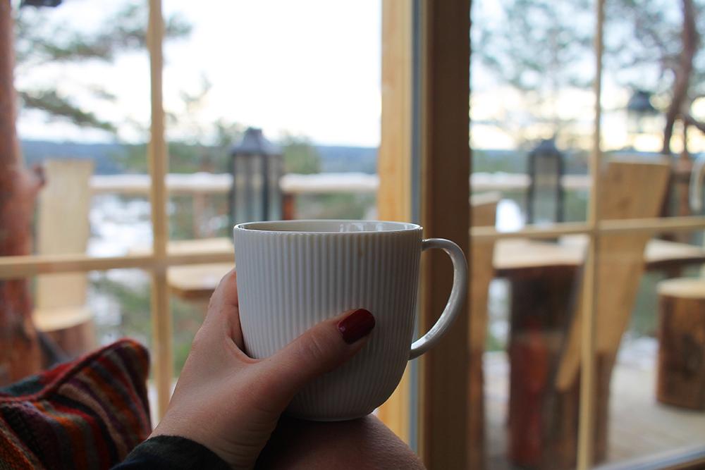 MORGENMYS: En god kopp kaffe og fulgekikking på morgenkvisten. Foto: Tenk Koffert