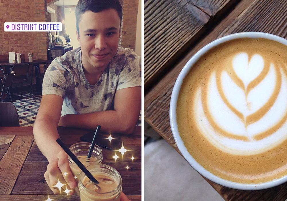 KAFFEKUNST: Kaffen ser ikke bare bra ut på Distrikt Coffe, den smaker bra og. Og kaffe må man ha på lang biltur!