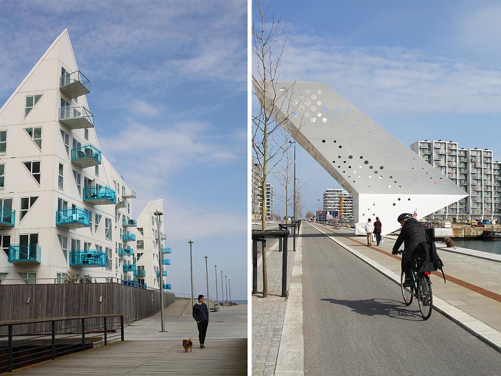 APRIL: Aarhus helt nye bydel, Ø, ligger nede ved vannet, og er et stilig og moderne område med boliger, restauranter og muligheter for sykling og fiske. Foto: Tenk Koffert
