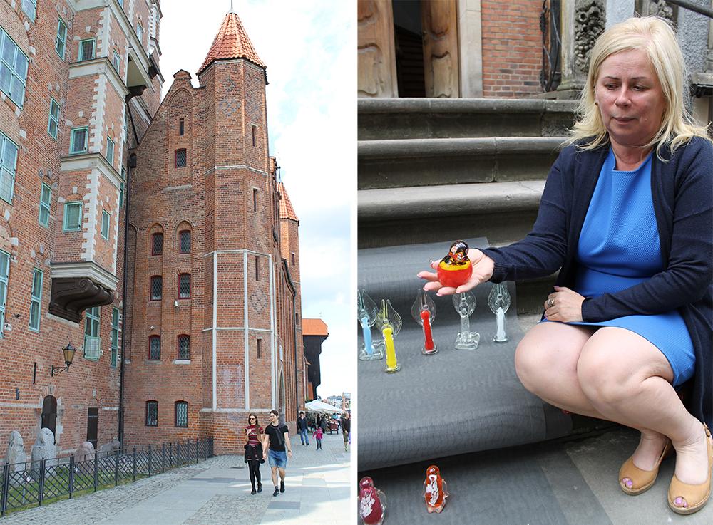SHOPPING I GDANSK: Det er mye fint å se i Gdansk. Joanna Ceikla selger fine glassfigurer i Amber Street. Foto: Tenk Koffert