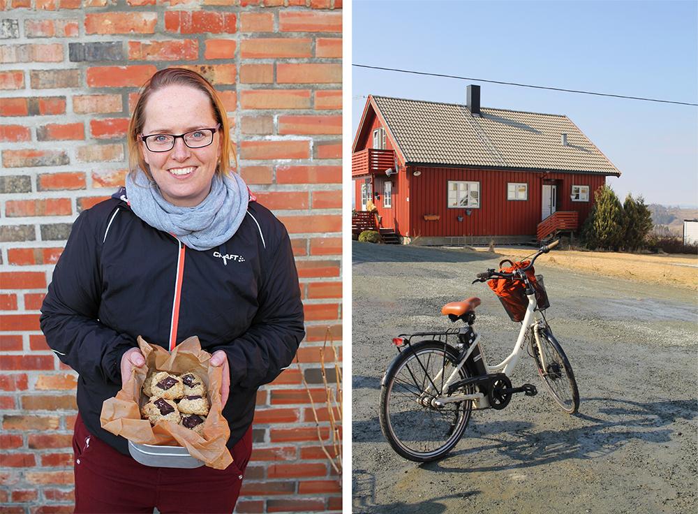 MIN VENN I INNHERRED: Kathrine jobber for  Visit Innherred  og har sin egen blogg som heter  Gluten- og melkefri inspirasjon . Kathrine og jeg gjorde mye gøy da jeg var i Levanger, blant annet var vi på elsykkeltur! Foto: Tenk Koffert