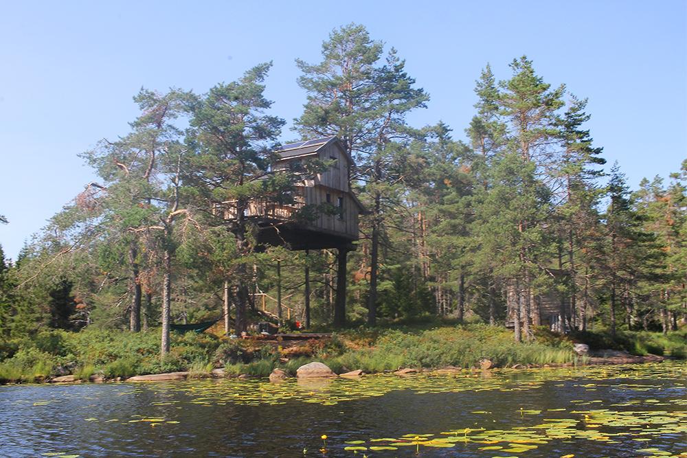 JULI: Treetop Fiddan, en fantastisk fin tretopphytte. Foto: Tenk Koffert