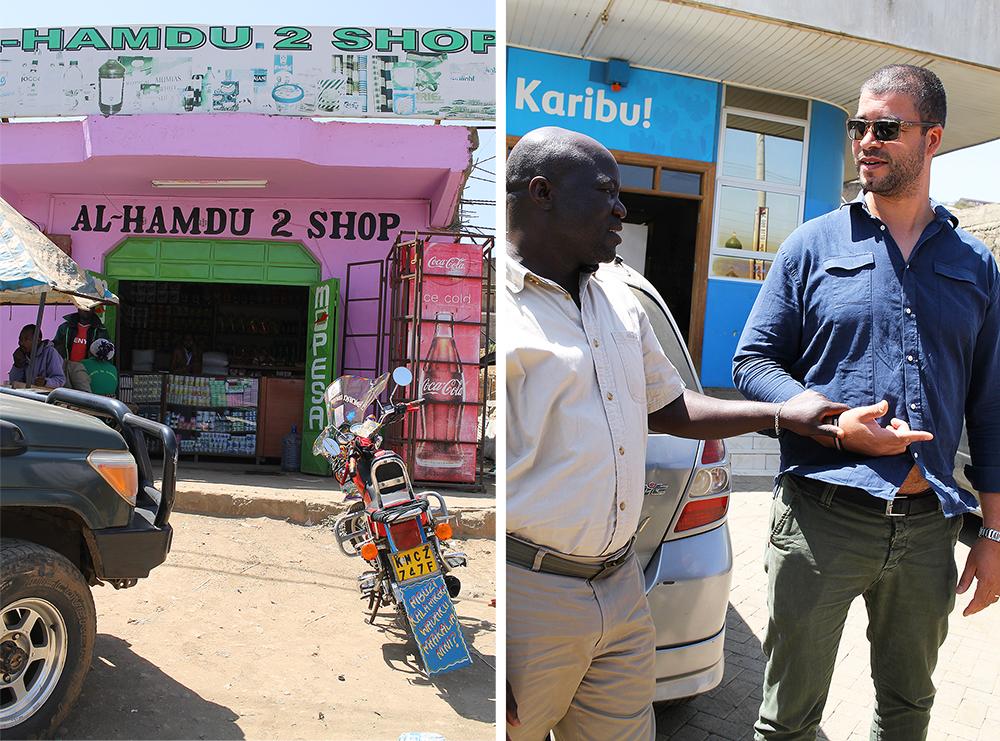 SAFARIGUIDE: Mannen min og vår dyktige guide, Joshua. Her har vi et liten stopp i Nairobi. Foto: Tenk Koffert