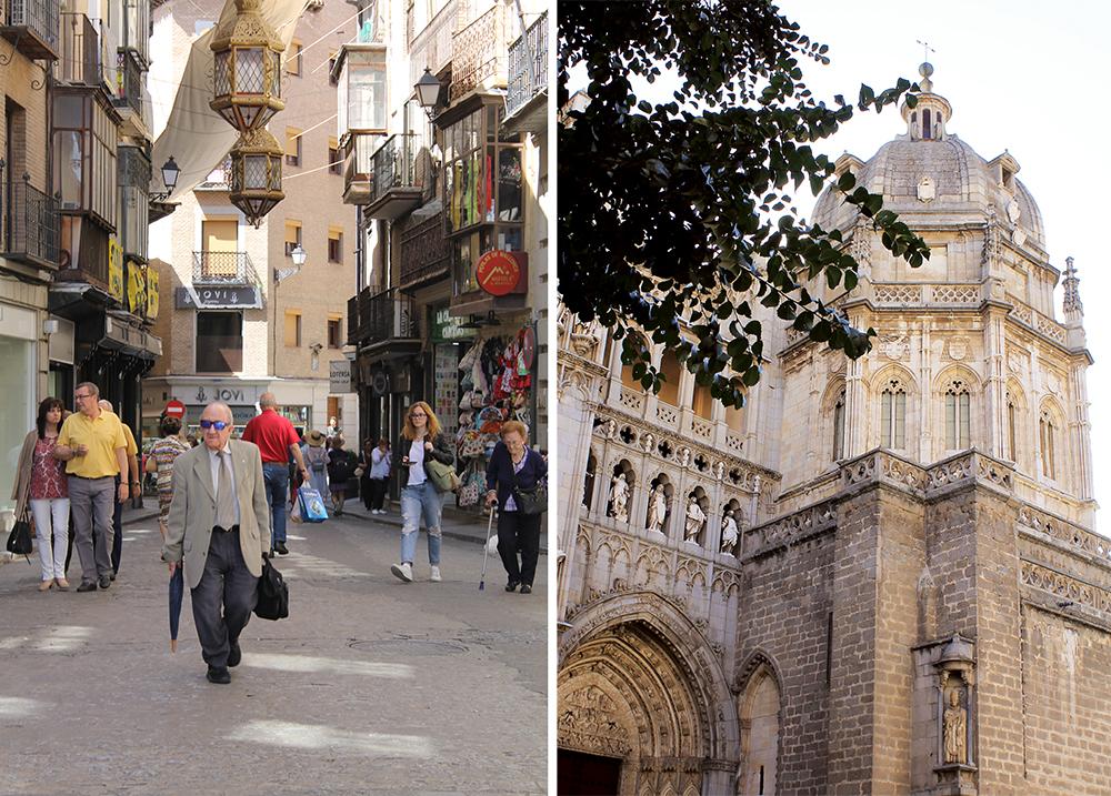 """TOLEDO: Noe av det søteste jeg vet er små, gamle, spanske menn med dress og slips. 😄 De ses """"over alt"""" i Madrid-området. Til høyre en detalje fra katedralens fasade. Denne katedralen bør man se minst én gang i løpet av livet. Velger du å bestille en guidet tur her får du lære mye spennende historie. Foto: Tenk Koffert"""