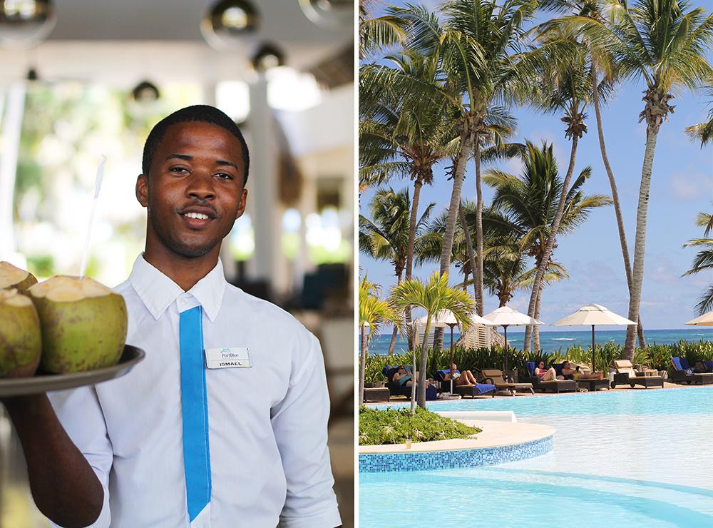 HOTEL SIVORY PUNTA CANA I DEN DOMINIKANSKE REPUBLIKK: Ismael på voksenhotellet, Sivory Punta Cana, serverer coco loco. En søt og deilig kokosdrink. Dette hotellet er kun for voksne, og her råder fred og ro. Nyydelig! Foto: Tenk Koffert