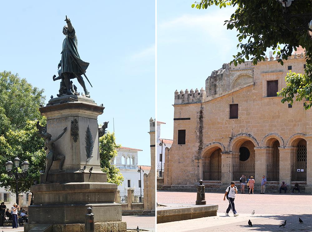 KULTUR OG HISTORIE: Statuen som står midt på torget i Santo Domingo viser Kristoffer Colombus som står og peker mot India. Damen som klatrer oppover skal være den første indianerkvinnen som lærte seg å lese og skrive. På bldet til høyre ser du katedralen i Santo Domingo. Foto: Tenk Koffert