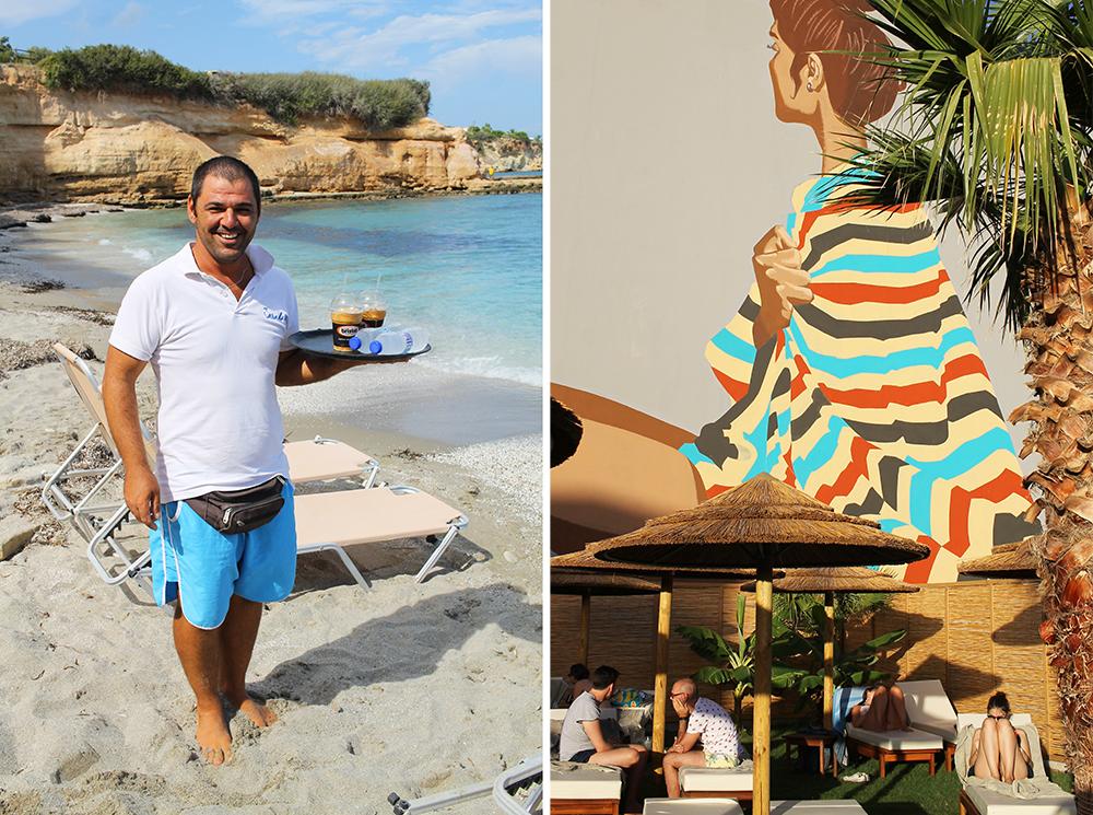 HERSONISSOS: Late dager på henholdsvis Sarantari beach og Cooks Club Hersonissos. Skulle det friste med en iskaffe når du er på Sarantari beac løper denne blide karen og henter det fra nærmeste restaurant. Foto: Tenk Koffert