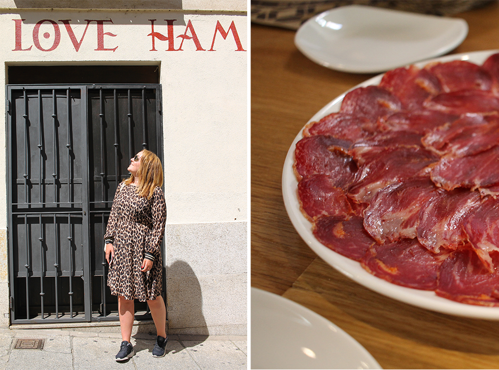 TENK KOFFERT I SALAMANCA: Her er jeg på jakt etter deilig ibericoskinke i Salamanca. Reiser du til Spania  må  du smake på skinken - verdens beste! Foto: Tenk Koffert
