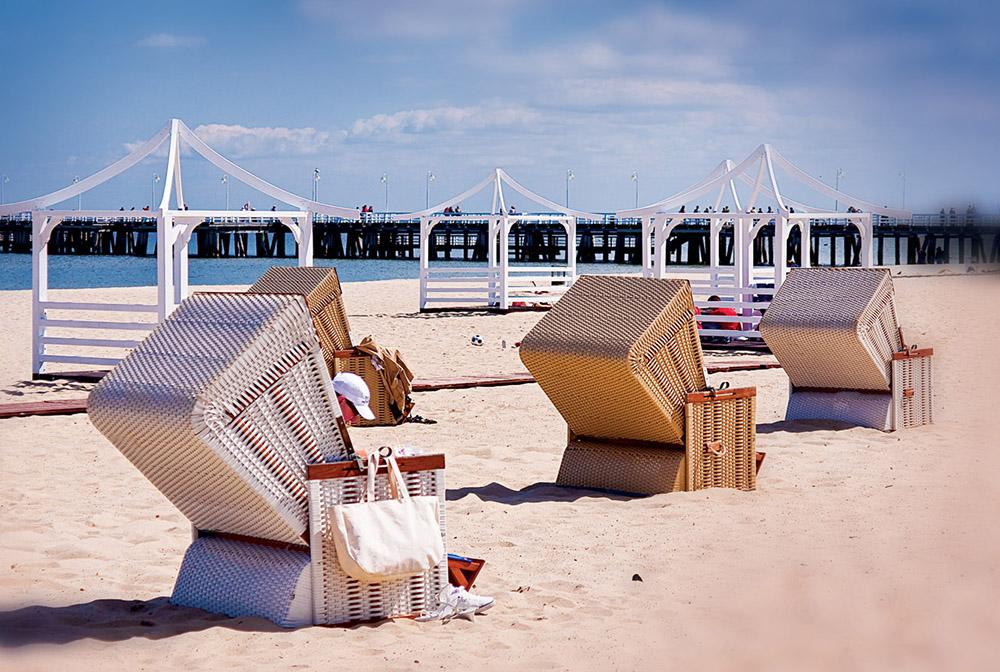 STRANDLIV: Sopot har herlige strender, og i sommermånedene er det deilige temperaturer. Foto: Polska Statents Turistbyrå