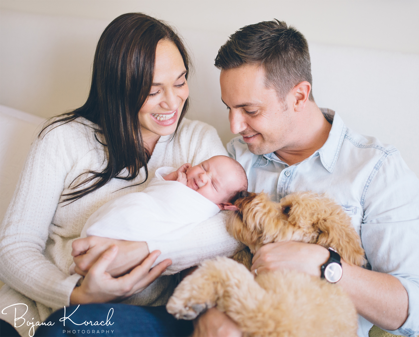 lincoln park family with newborn and their dog