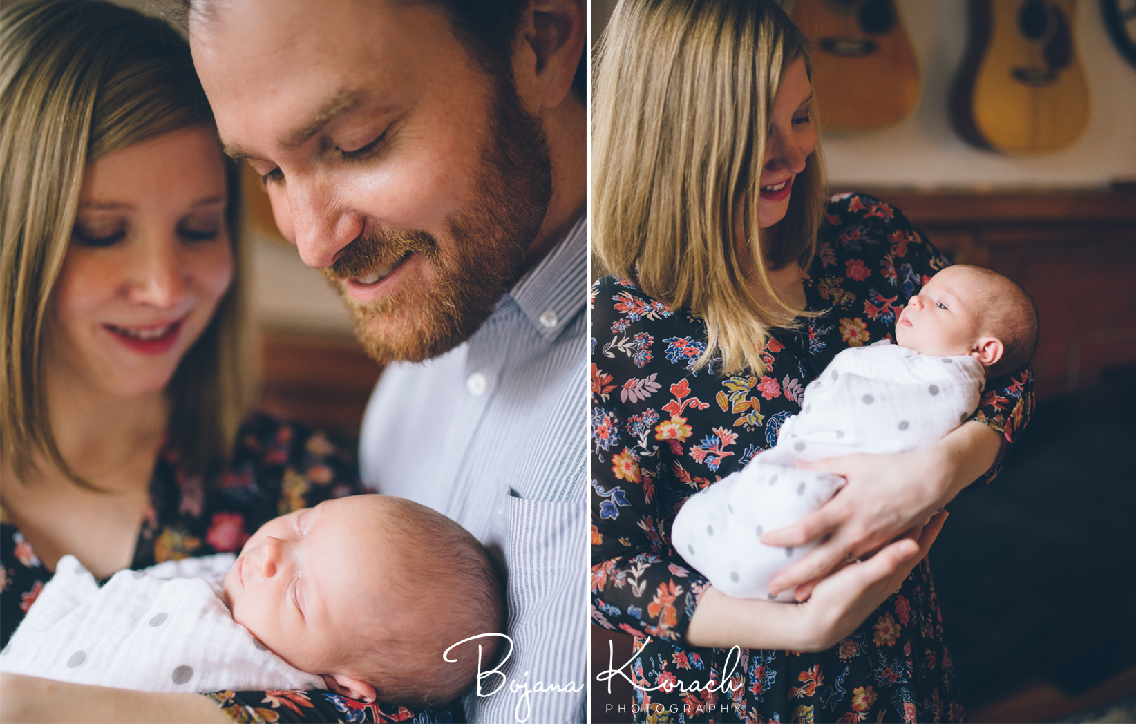parents with their newborn baby girl in wicker park