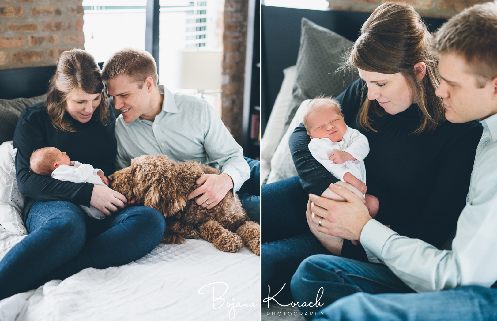 family with goldendoodle