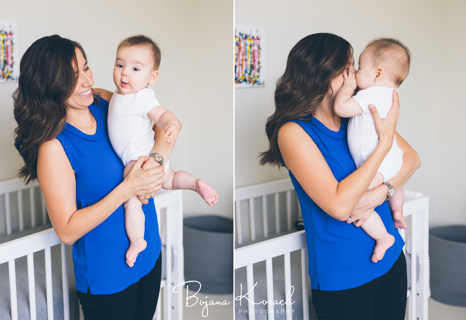 happy baby in mother's arms