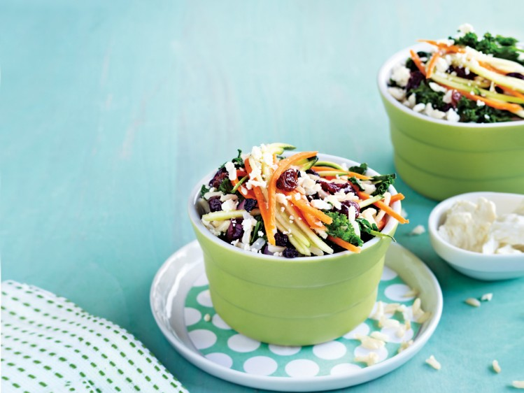 Kale, carrot, and feta salad