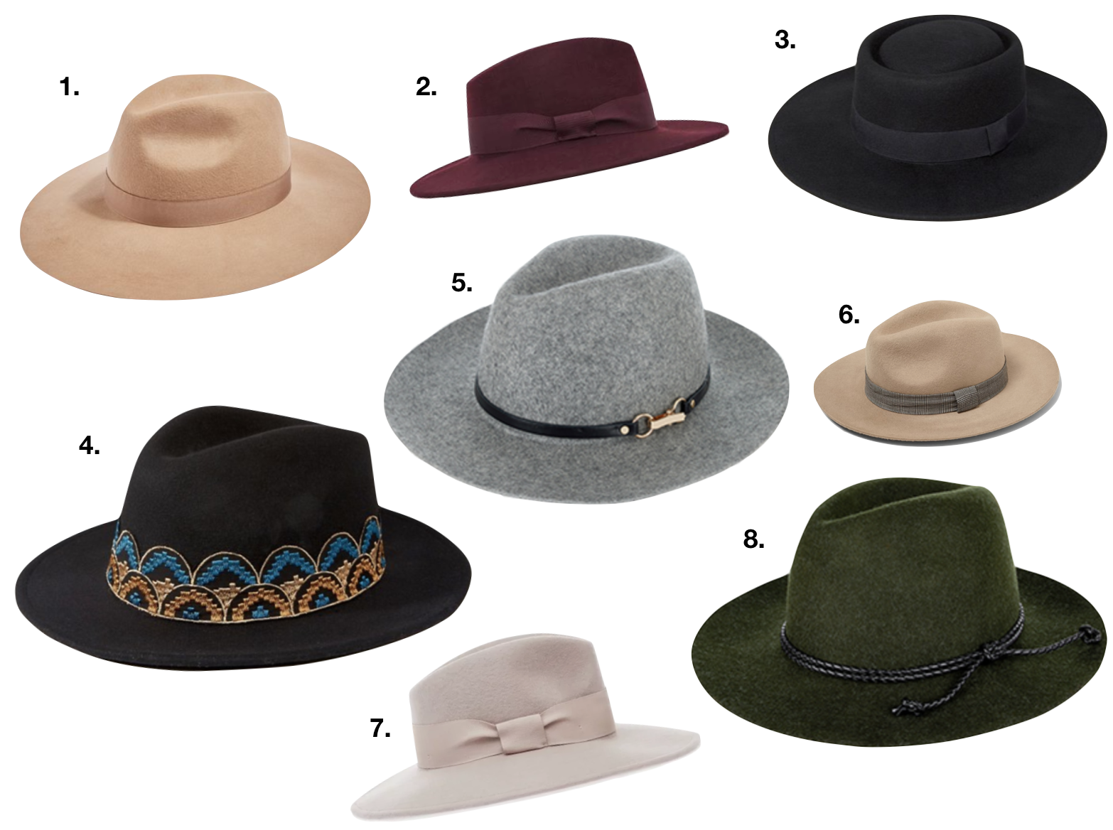 1. Camel TOPSHOP Hat  here , 2. Burgundy REISS hat with ribbon  here , 3. Plain black ASOS hat  here , 4. Black BRIXTON hat  here , 5. Grey MONSOON hat  here , 6. Camel ZARA hat  here , 7. Blush pink REISS hat with ribbon hat  here , 8. Bottle green MONSOON hat  here .
