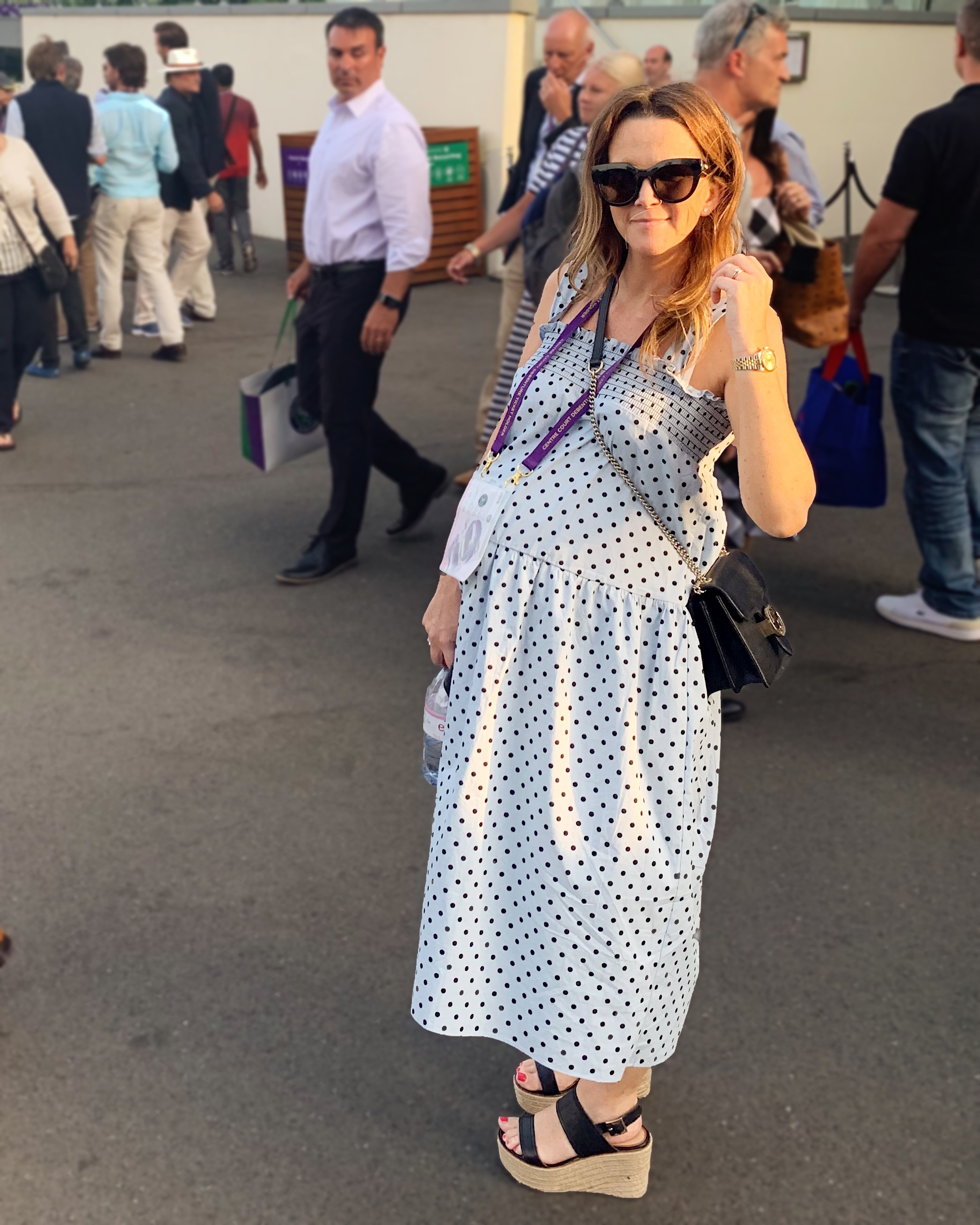 Dress  here , Sunglasses  here , Wedges Aldo (old) similar here, bag Gucci  here , watch  here .