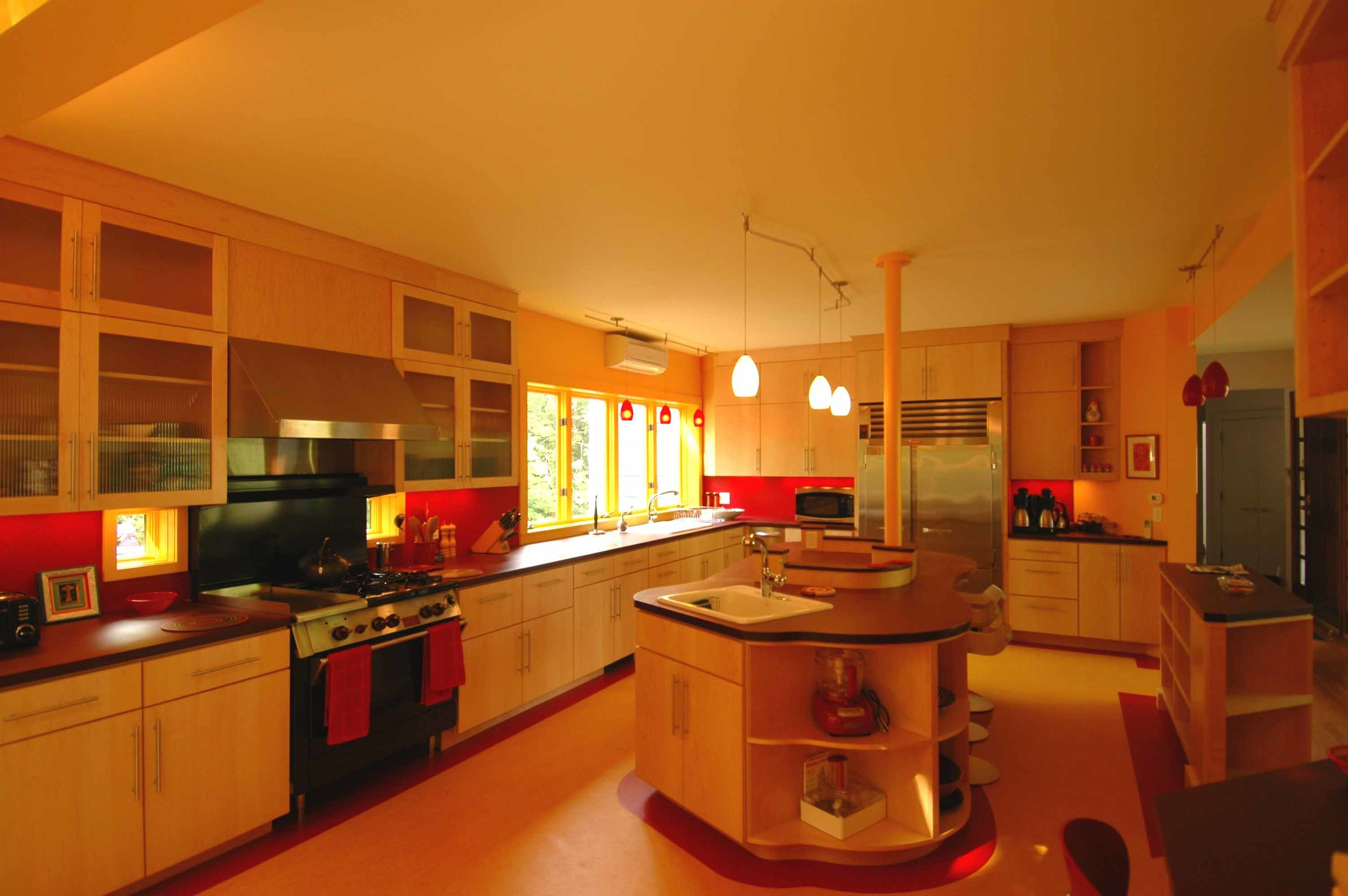 Alternate angle of newly expanded kitchen area.