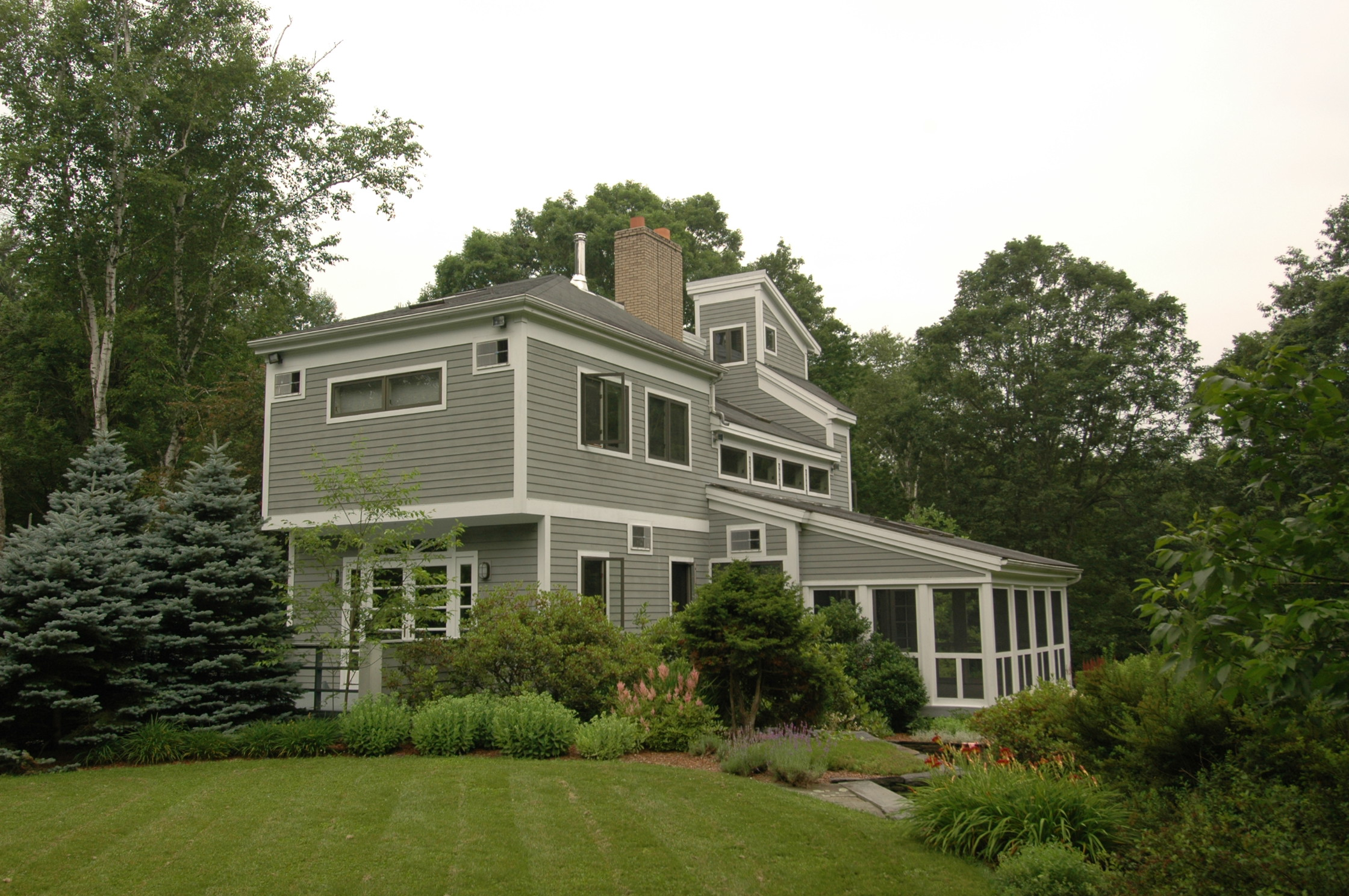 WEST CENTER RD RESIDENCE, WEST STOCKBRIDGE, MA   Designed as a full time residence for a retired bachelor whose interests lean to towards traveling, cooking, and automobiles, this house represents the culmination of years spent planning his dream house in a very specific and detailed approach.