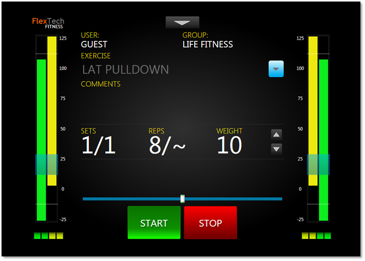 The FlexTech User Interface as seen while working out -