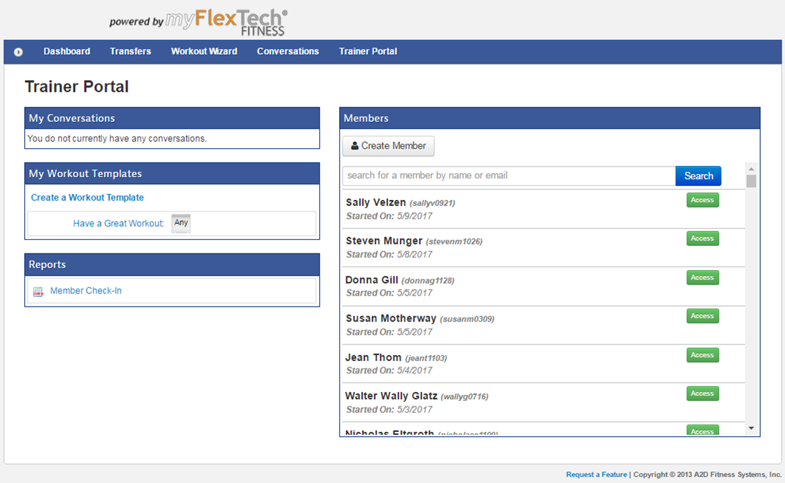 The myflextech.com User Administration Page  -