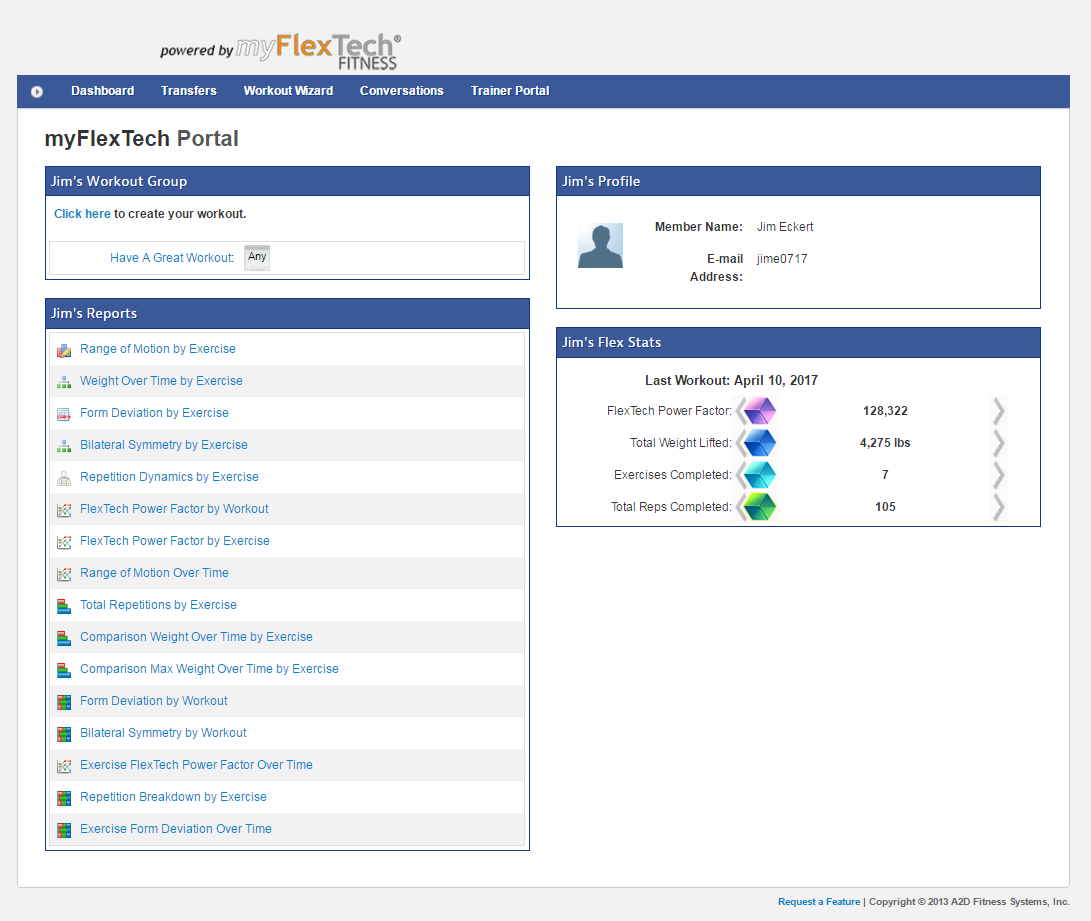 The myflextech.com User Dashboard -