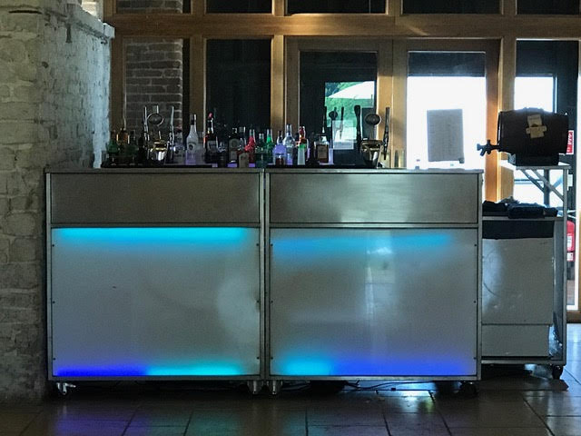 Fully Mobile Bar - From a marquee to a village hall we can provide a mobile bar almost anywhere indoors and outside. We require a power source and an area of at least 3m x 3m to set up.