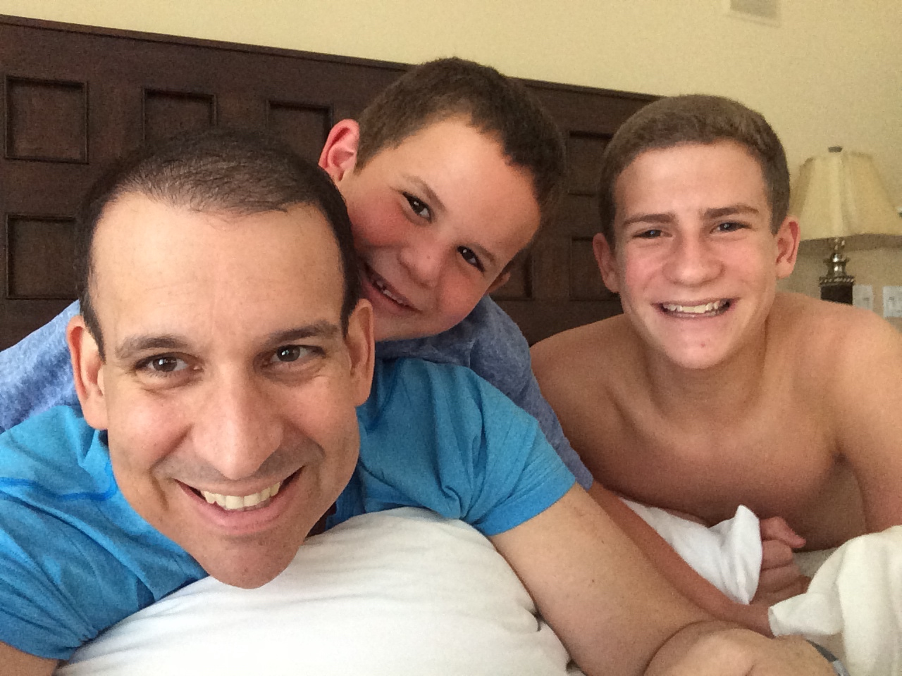My boys keeping me company after treatment. I couldn't ask for two betters sons.