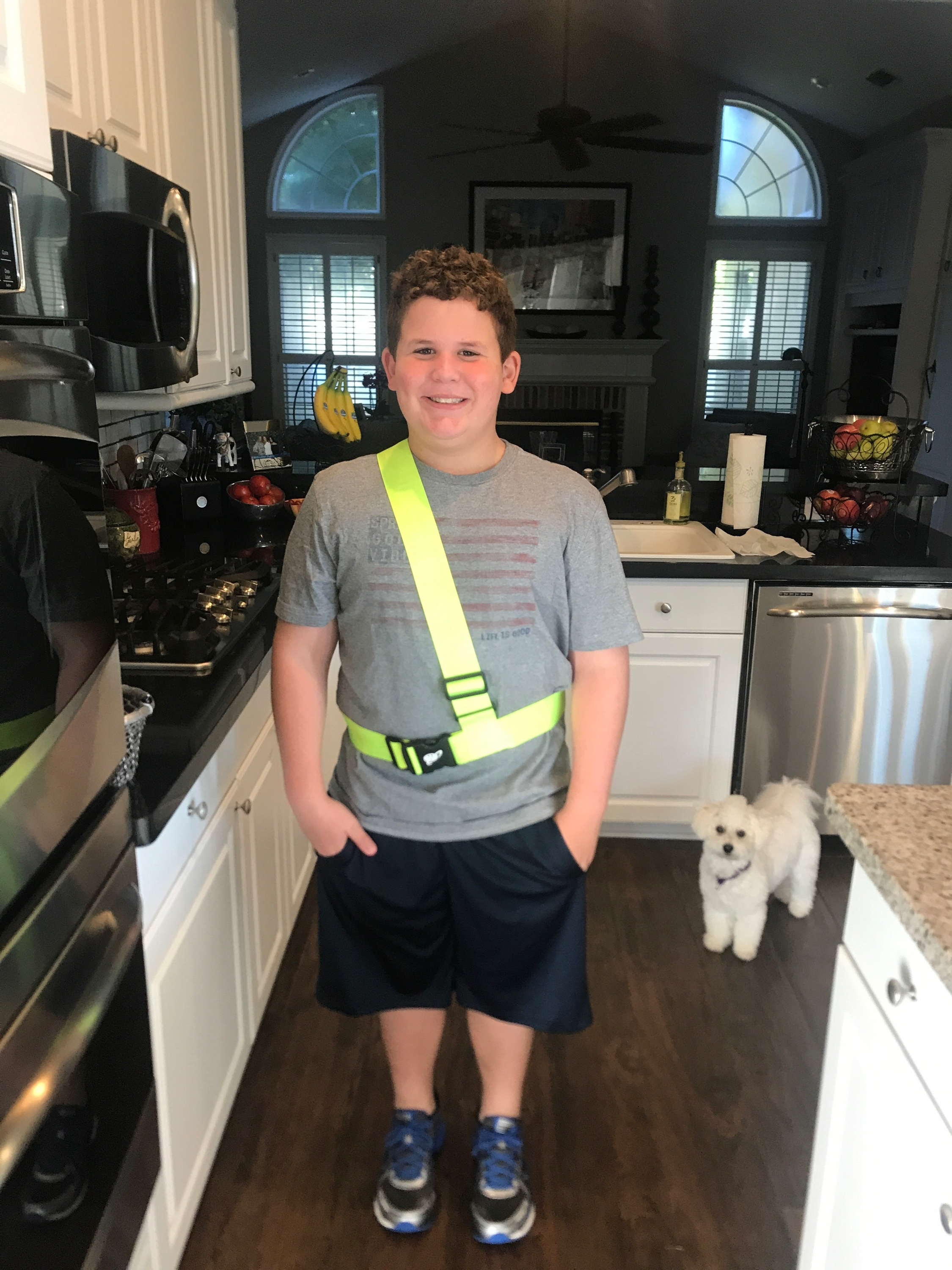 Adam's first day of 5th grade. He is excited to be a safety patrol. I love seeing him so happy.
