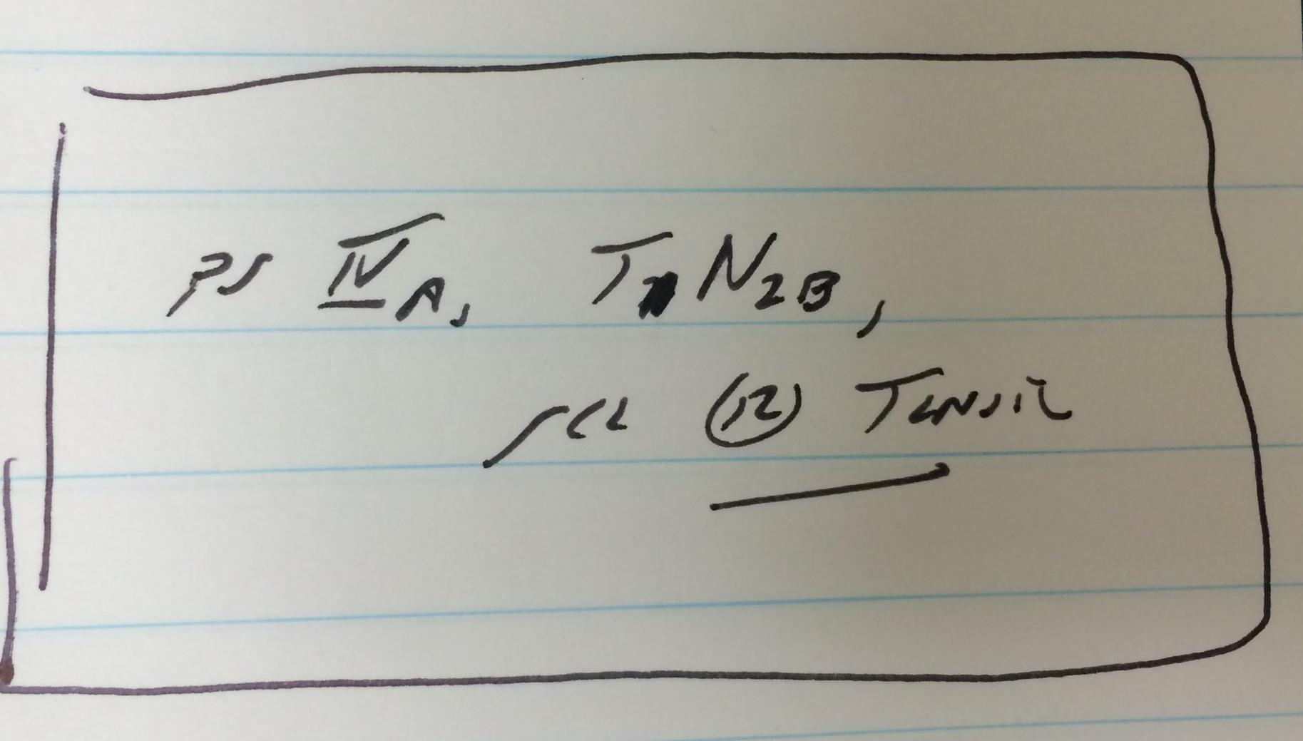 Dr. Ho wrote down my cancer diagnosis - Stage IV tonsil cancer. Later I learned that it was HPV-related, the official diagnosis was Squamous Cell Carcinoma of the left tonsil.