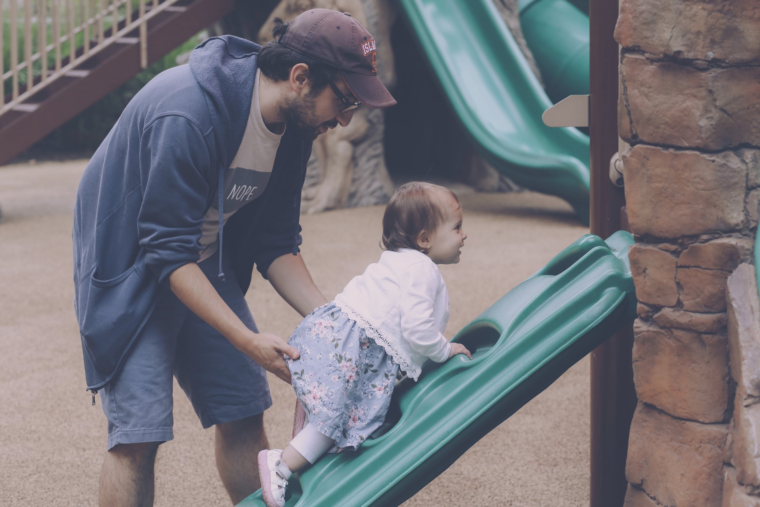 Father and daughter at the playground, Staten Island Family Photography.