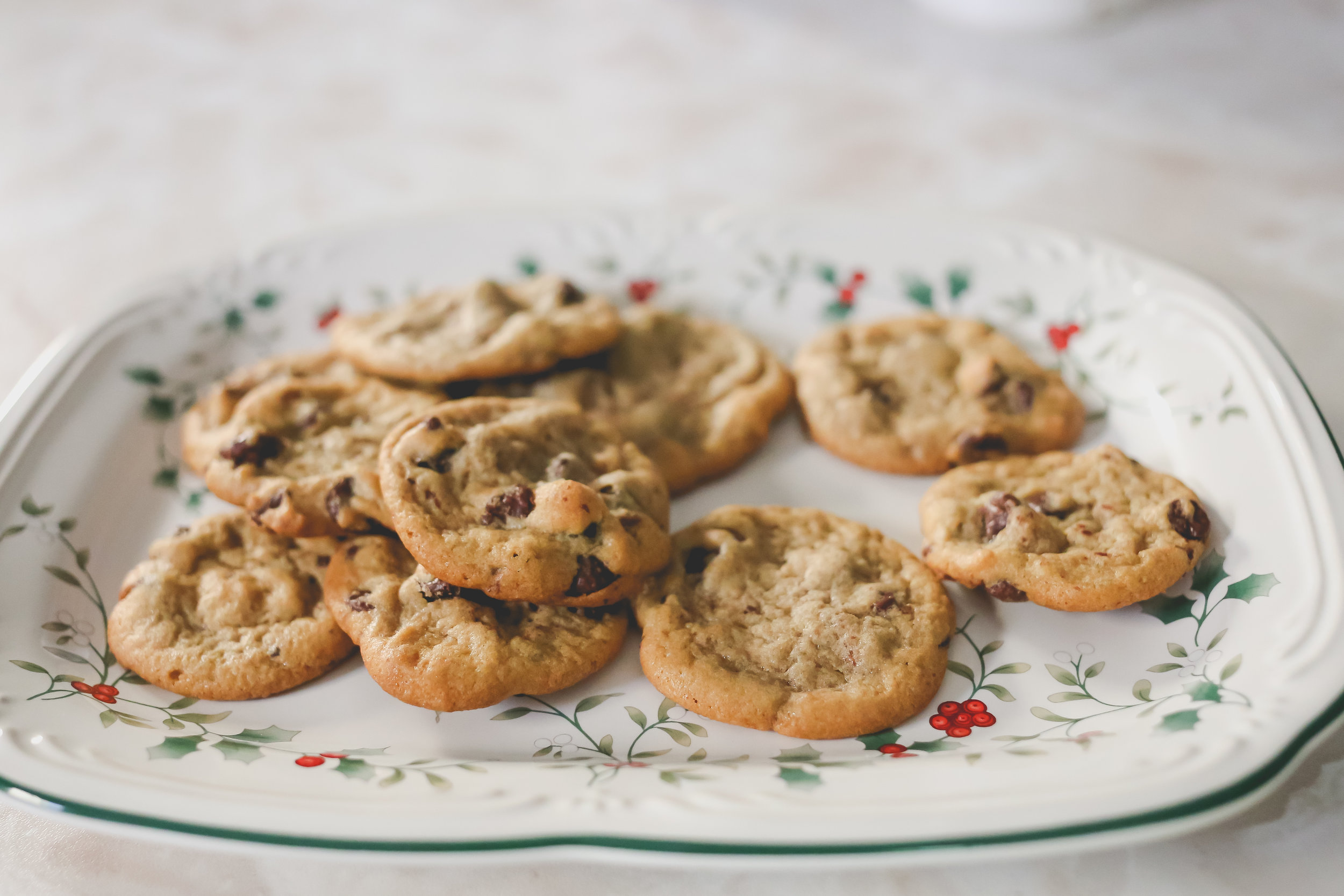 A plate of chocolate chip Christmas cookies, made during a family photography session by Jen Grima of Staten Island, New York.