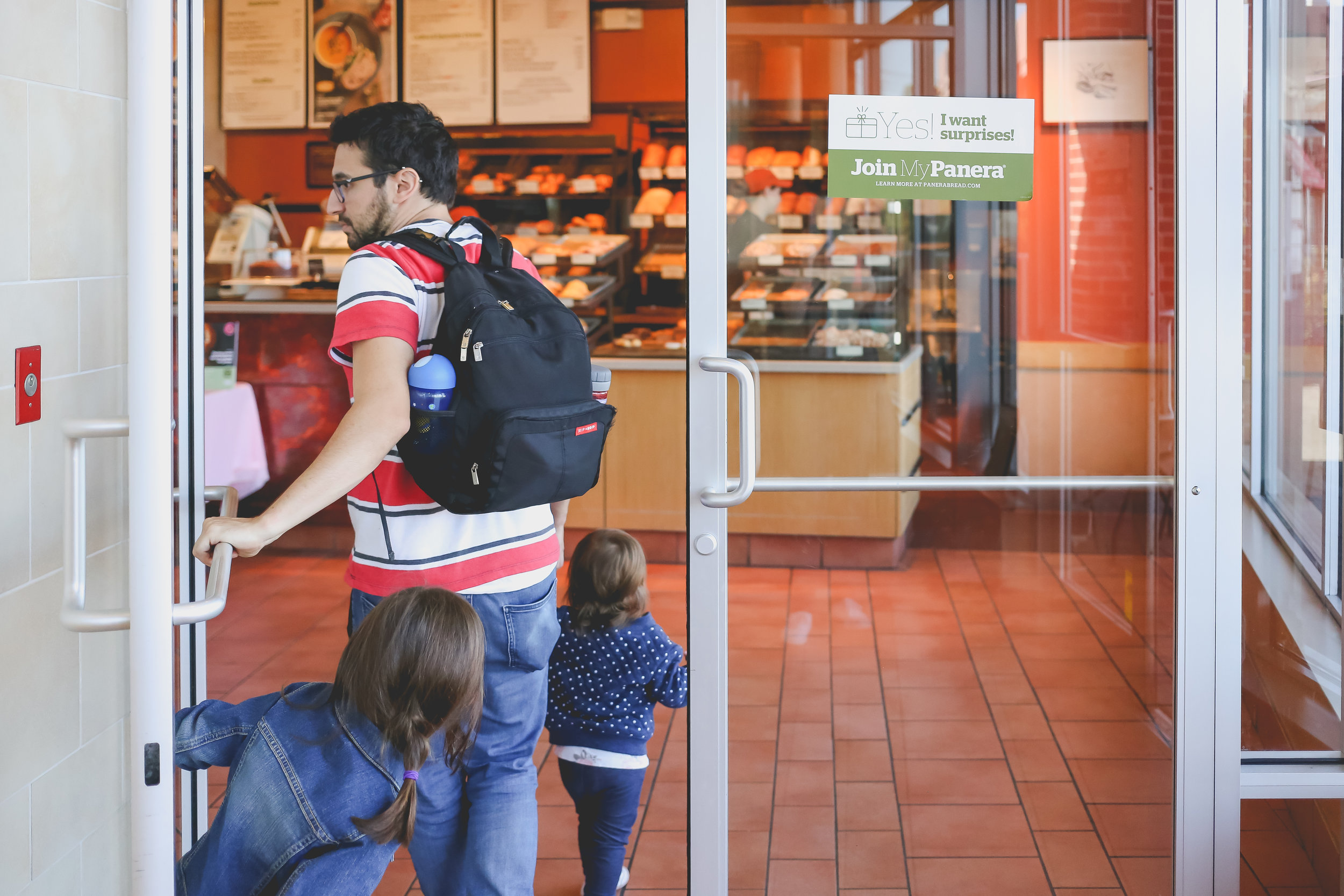 Walking into Panera Bread in Staten Island, NY. Day in the LIfe family photo session.