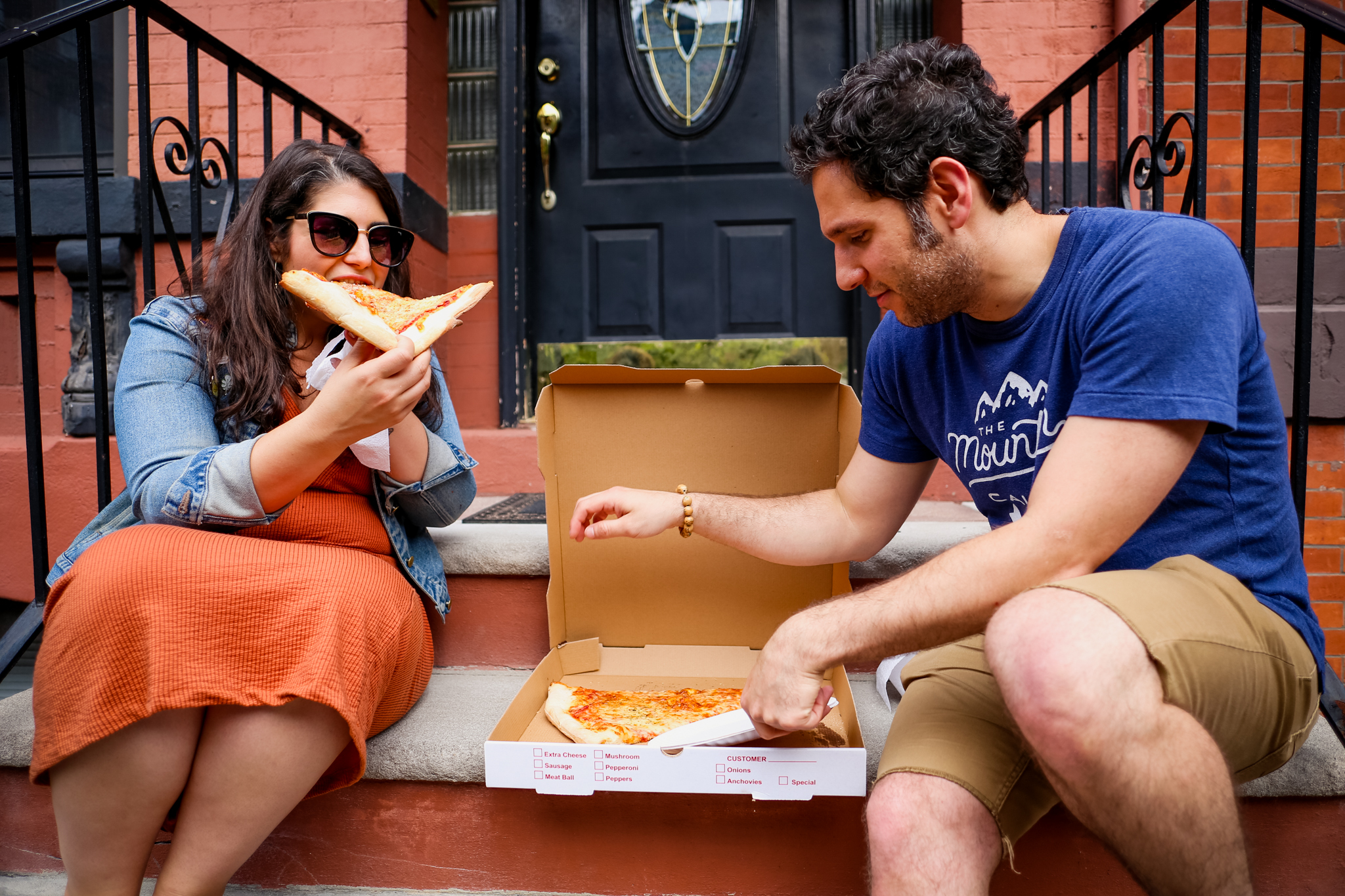 Pizza on the stoop. Candid, natural engagement session by Jen Grima, Lehigh Valley photographer.