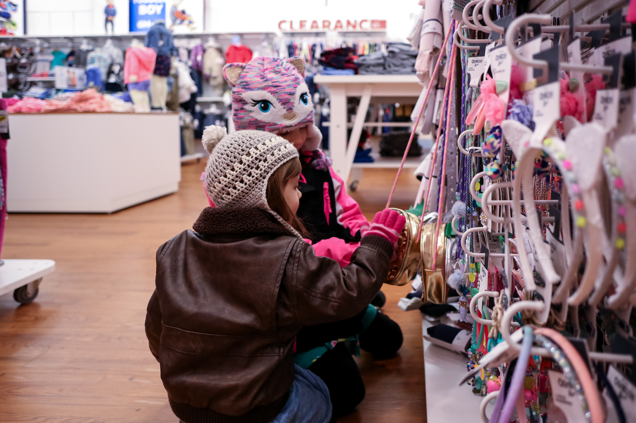 Sisters shopping for purses at Carter's in Center Valley, PA.
