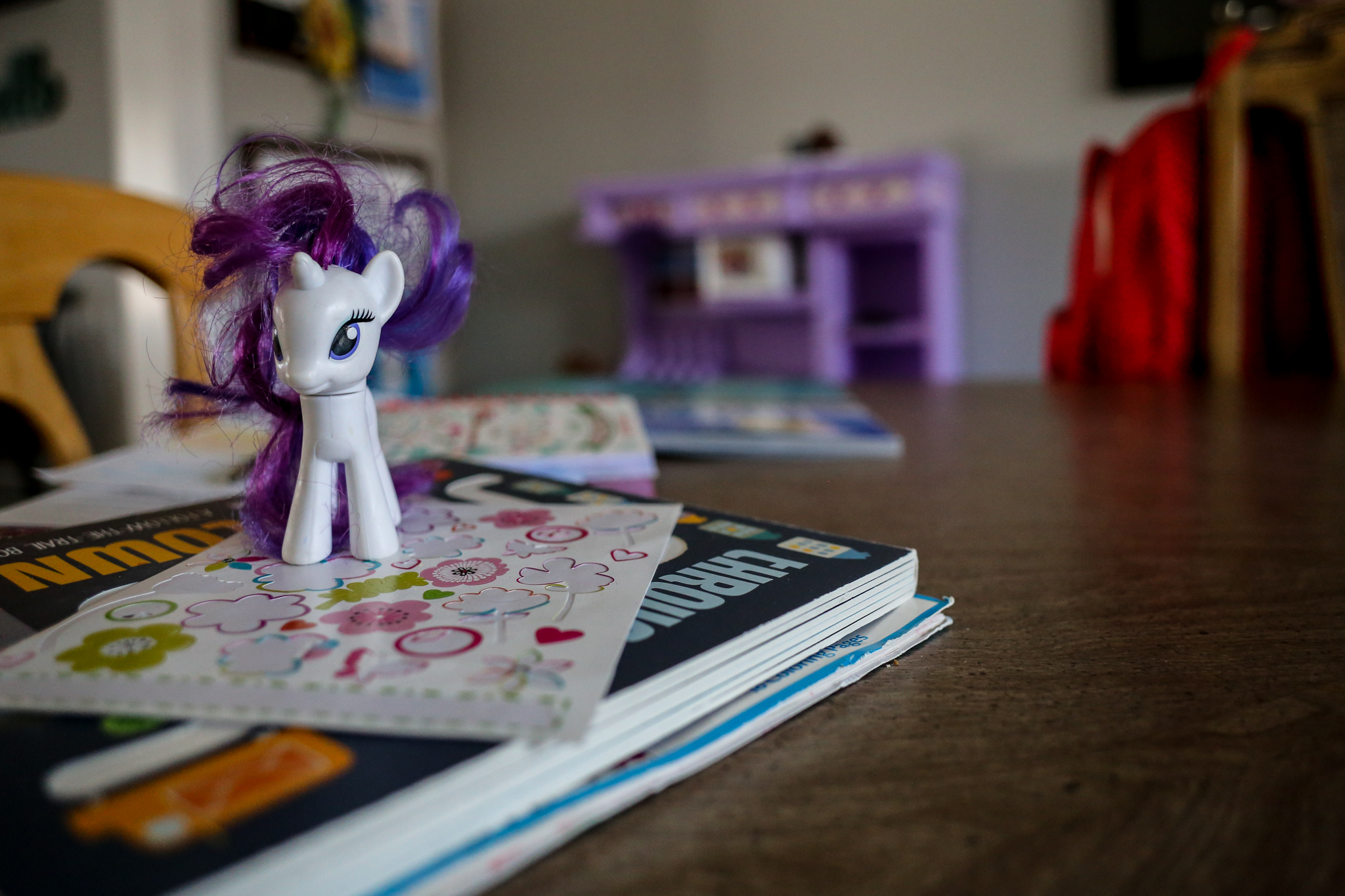 My little pony on the dining room table, at home in Macungie, PA.