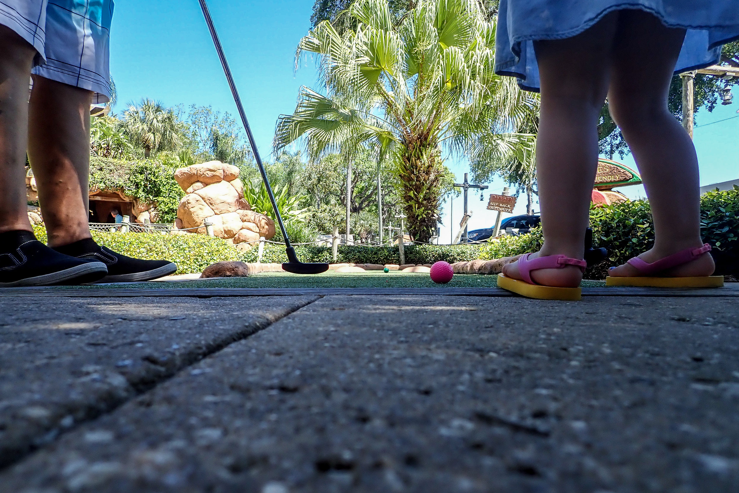 Toddler girl at Congo River Golf in Clearwater, FL.