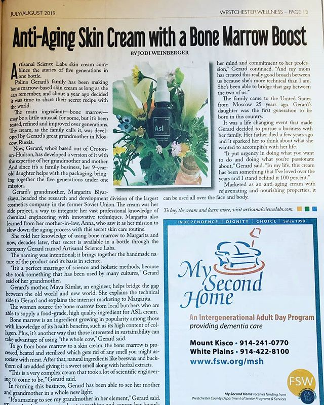 Spotted while taking my kid to the doctor - so psyched to be written up in Westchester Wellness. #bonemarrow #crotononhudson #skincare #facecream #westchester  #family
