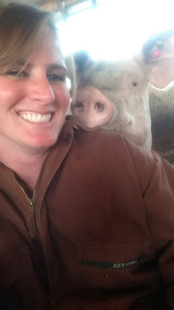 FROM SMALL FAMILY FARMERS WHO CARE - Abby Beeler on the farm with the pigs