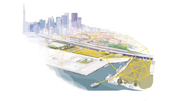 A sketch depicts the hyper-connected new Toronto neighbourhood envisioned by Sidewalk Labs. (Sidewalk Labs)