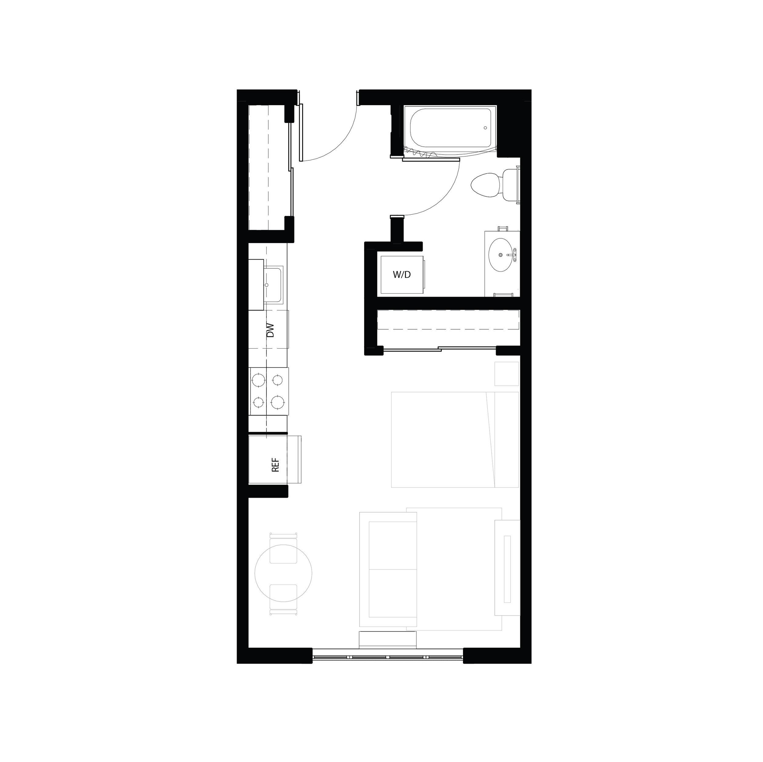 Studio 444 sq ft