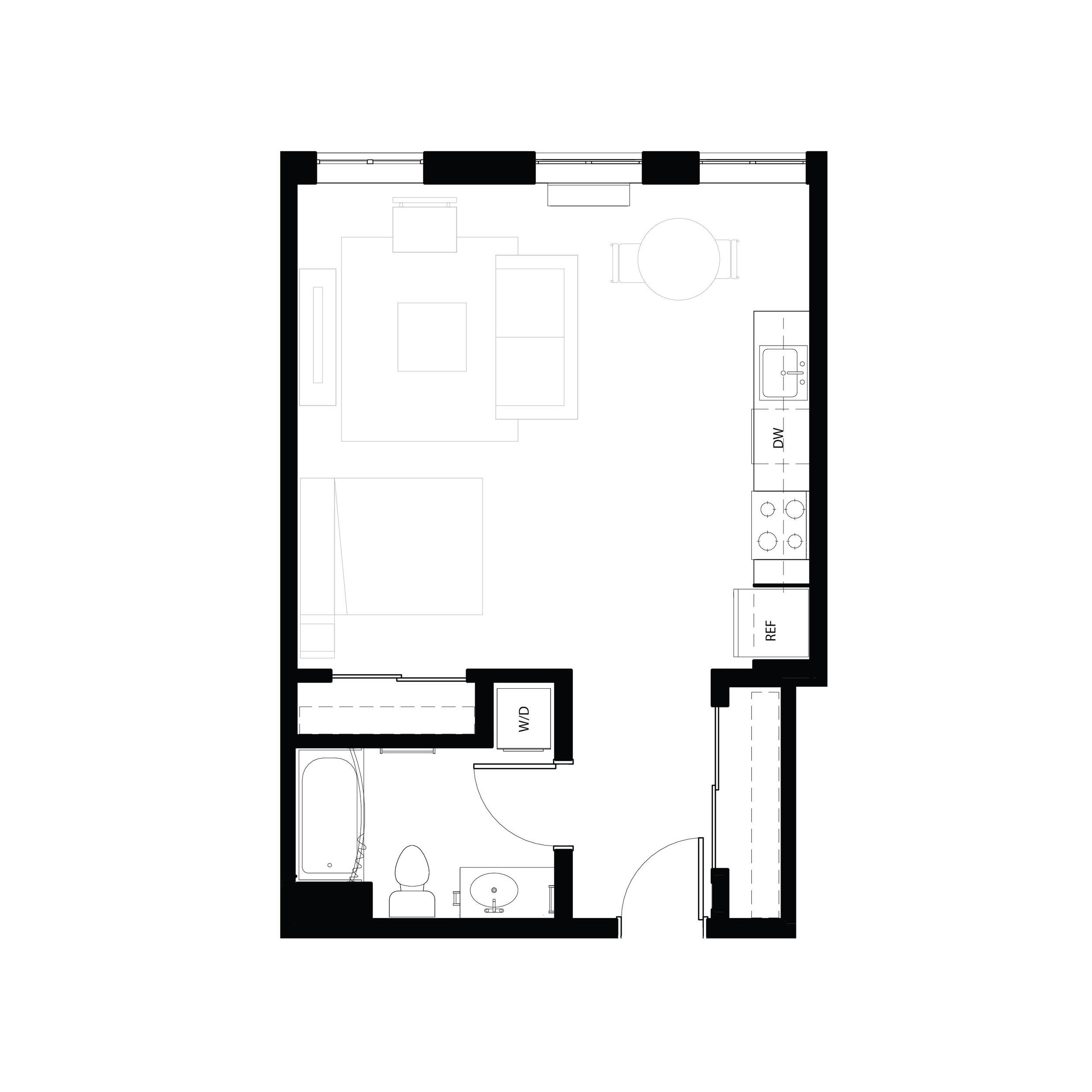 Studio 544 sq ft