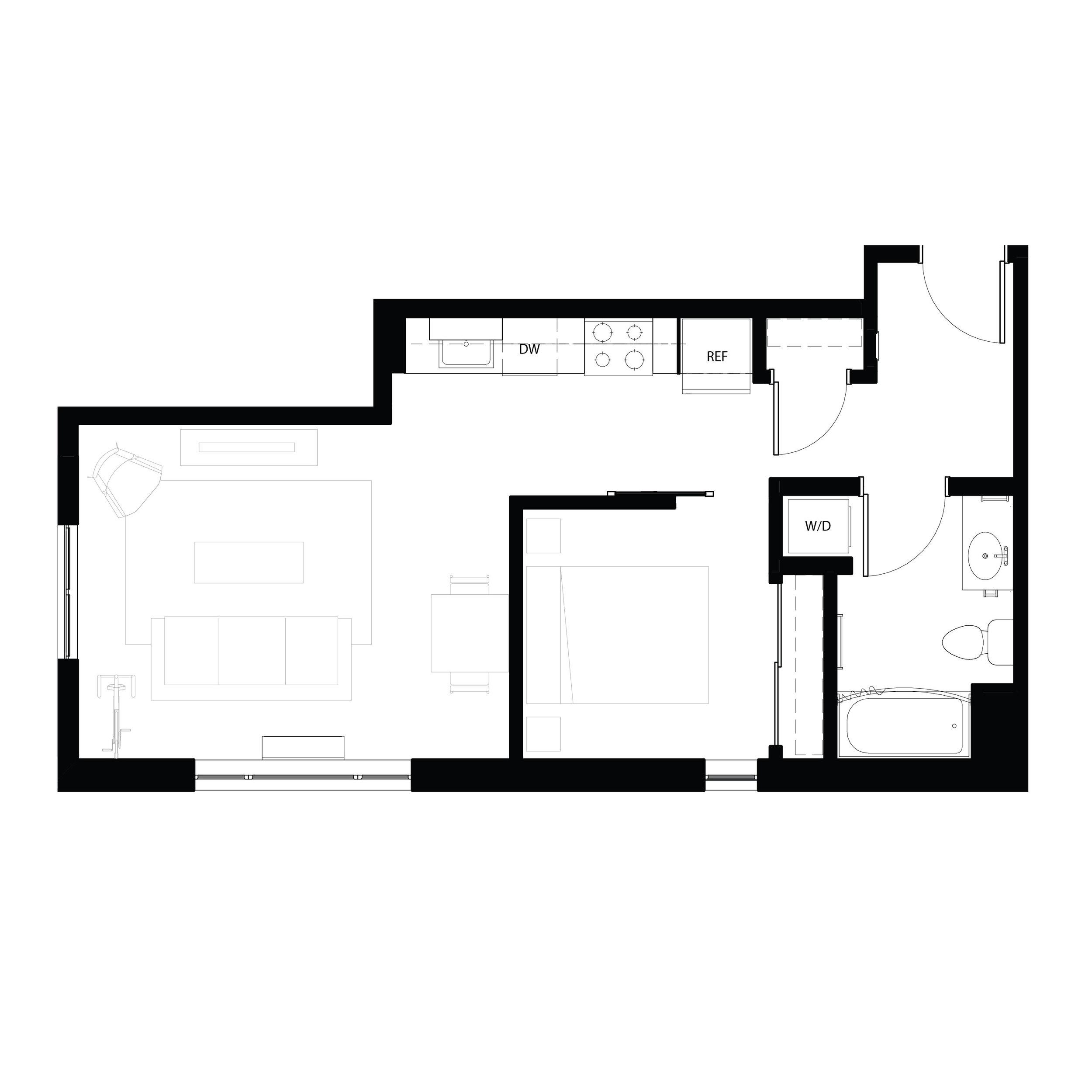 One bedroom 573 sq ft