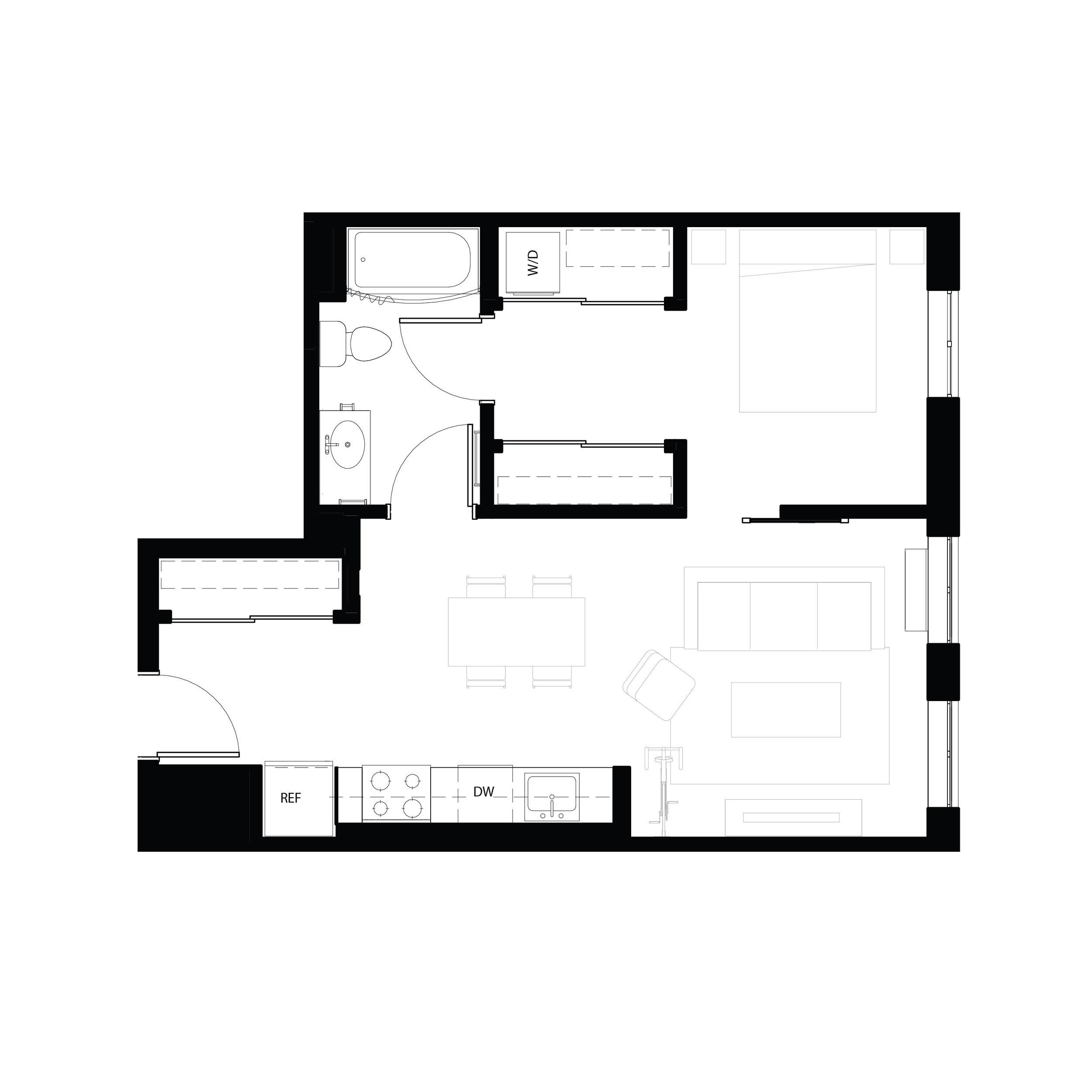 One bedroom 603 sq ft